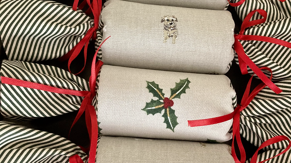 Box of Four - Reusable Fabric Crackers, Terrier and Holly