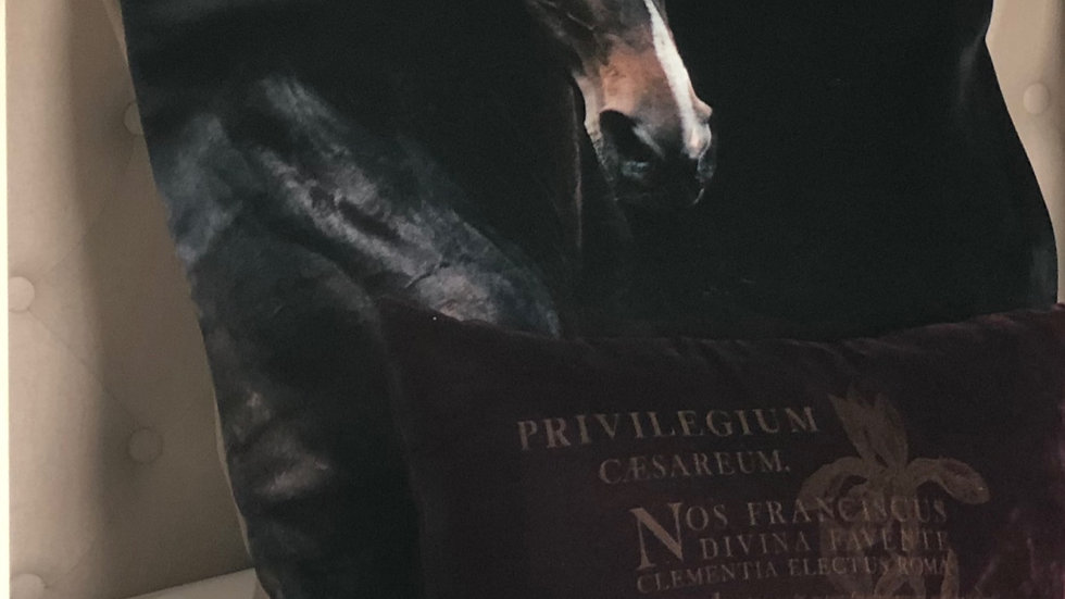 Velvet Euro Pillow COVER Horse Left