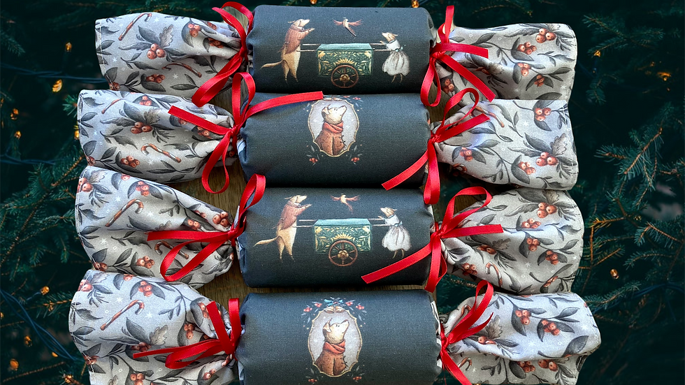 Set of Four Vintage Christmas Dogs  Reuseable Crackers