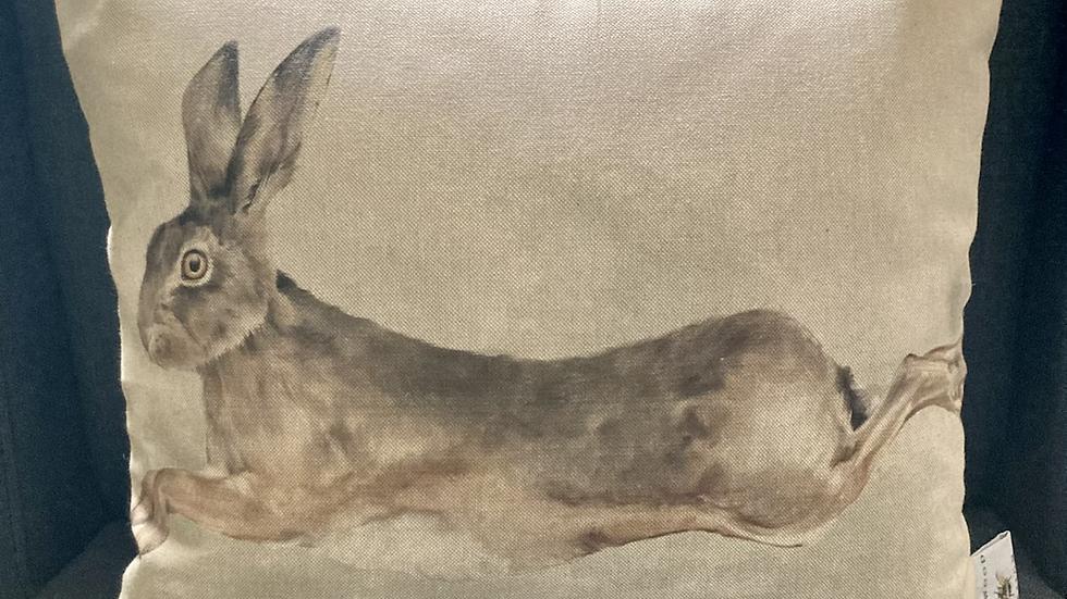 Running Hare Watercolour Cushion