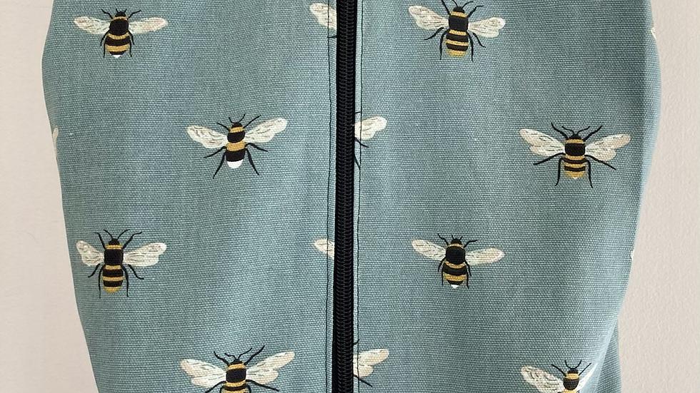 Bee on teal Cotton  - Shoe Bag
