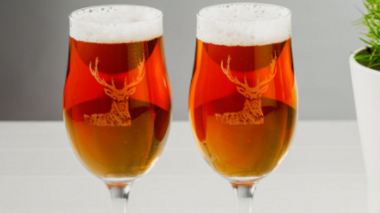 Set of Two Stag Engraved Style Craft Beer Glasses