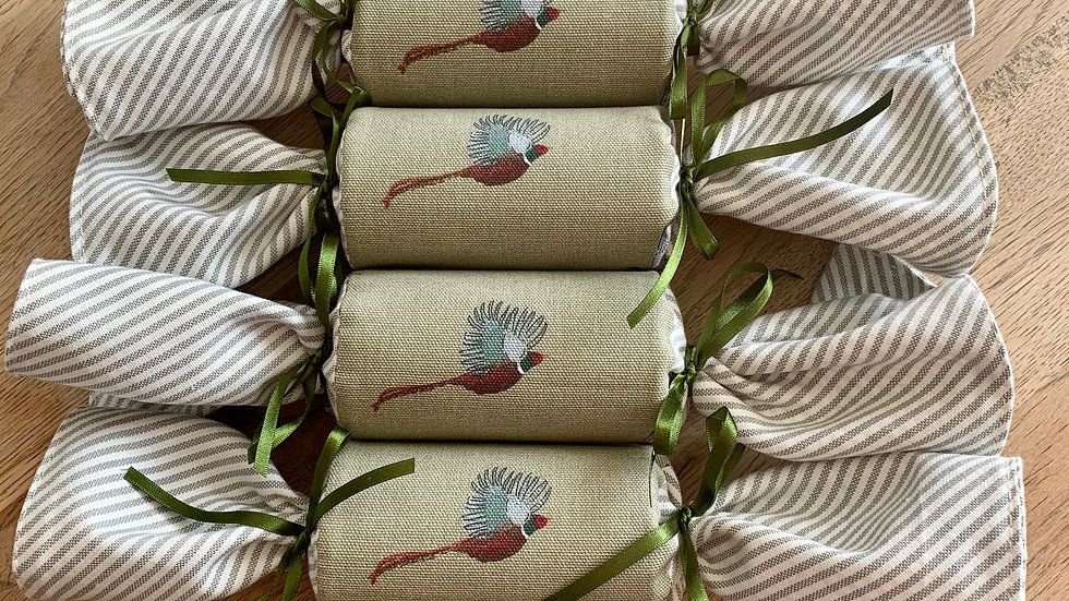 Box of Four - Reusable Fabric Crackers, Pheasant and Mid Winter Christmas