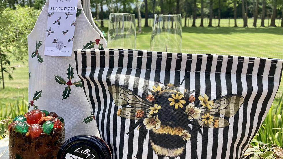 Christmas Holly Reusable Cotton Wine Bag