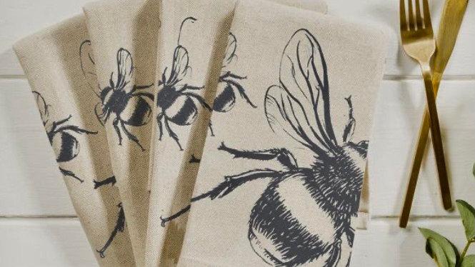Set of Four Linen Bee Napkins