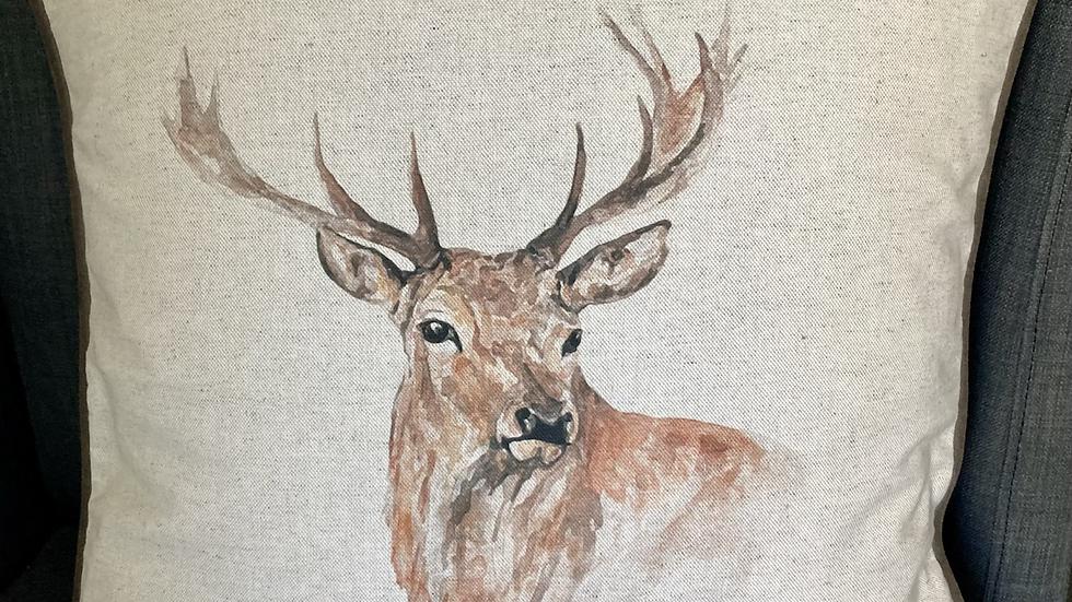 Watercolour Stag Cushion