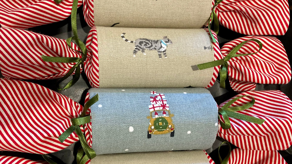 Box of Four - Reusable Fabric Crackers,Cats and Christmas
