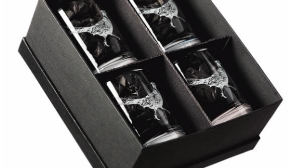 Pheasant Engraved Glass Tumbler Gift Set of Four Glasses