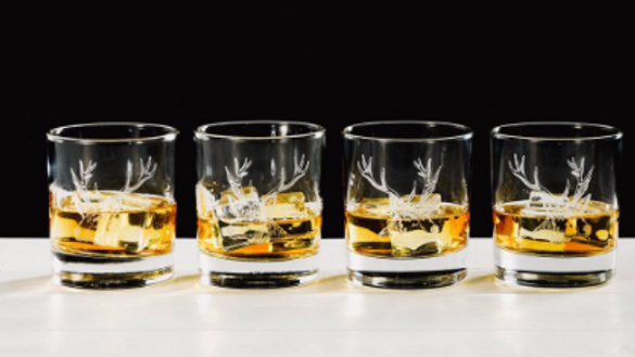 Engraved Glass Tumbler Gift Set of Four GlassesStag