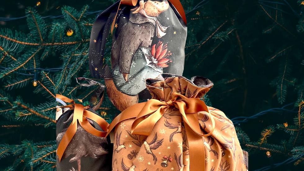"""Set of Three Reusable Christmas Bags """"Vintage Christmas Dogs"""""""