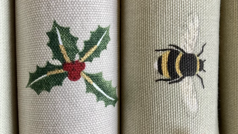 Set of Four Bees/Holly  Reusable Crackers