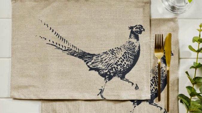 Two Linen  Pheasant Placemats