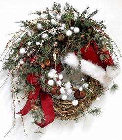 Santa hat with pom poms wreath_edited