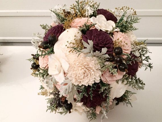 This is just a blush and aubergine bouquet