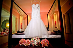Brides dress with bouquets - Lindsey and Pauly wedding