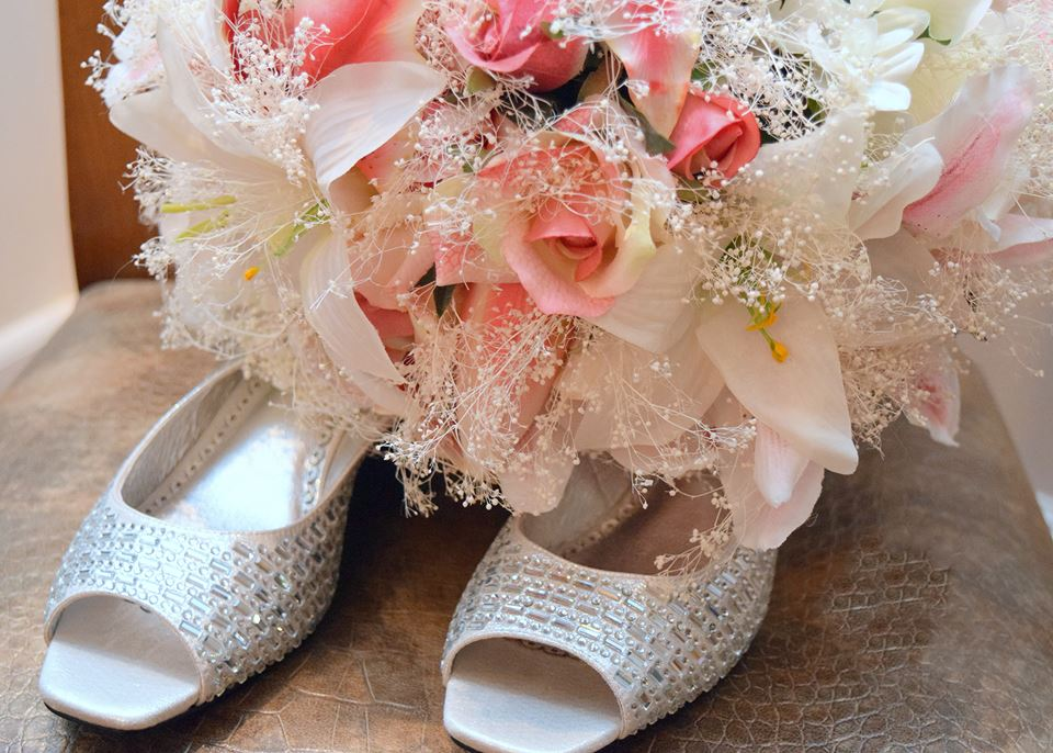 Ashley's bouquet with her shoes