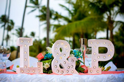 Marquee letter sweetheart table