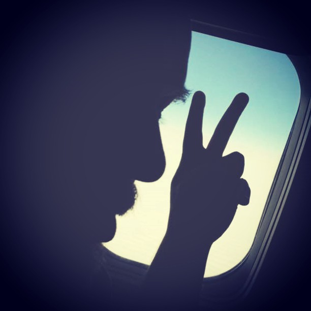 Amsterdam here we come!With _fridavictoriadv #Silhouette #moustache #tongue 👅 #flying #Netherlands