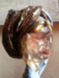 Malika, sculpture en torolithe, femme africaine, french artist, french woman