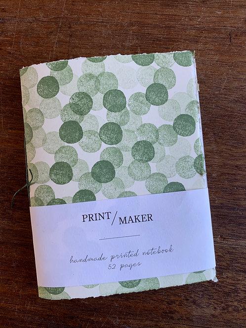 A6 Handprinted Notebook - Green Dots