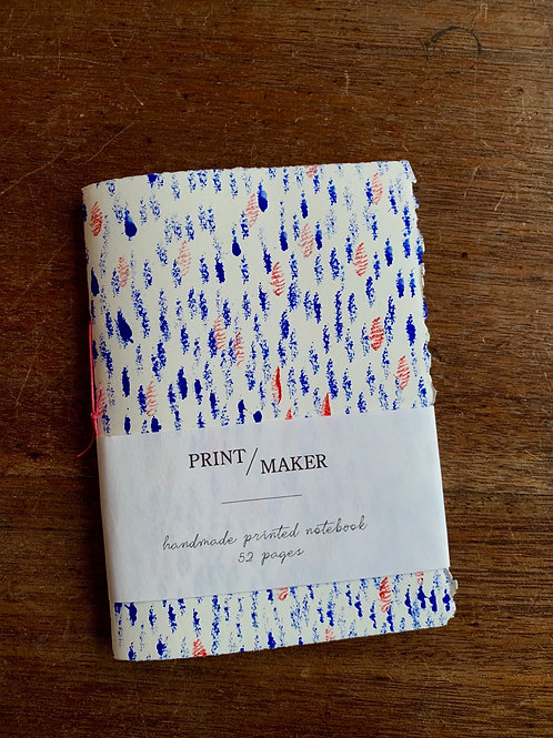 A6 Handprinted Notebook - Blue & Red