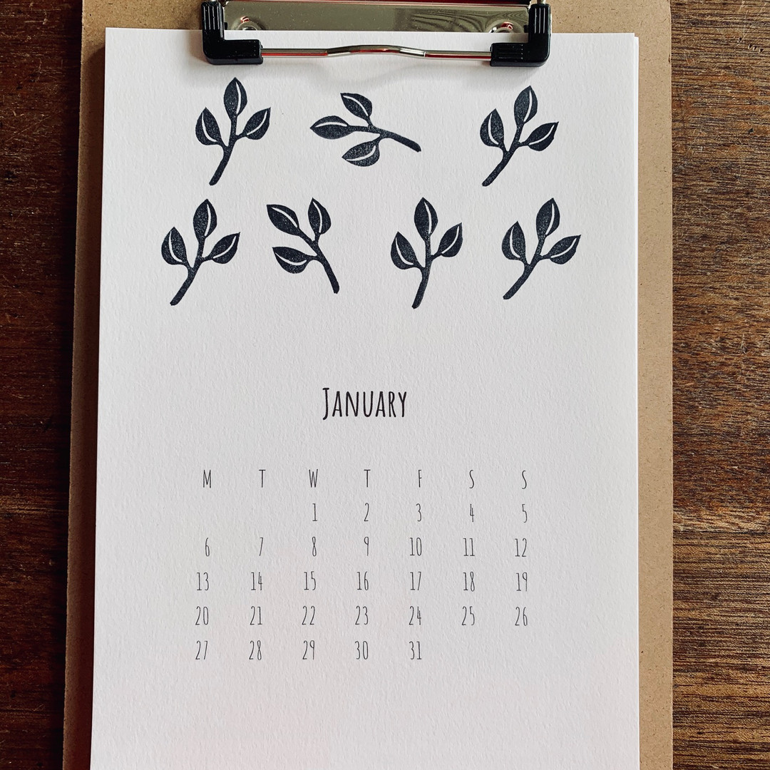 2020 calendar - with wooden clipboard