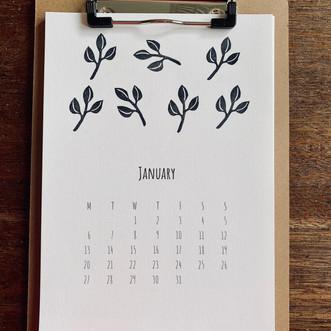 2020 calendar - with wooden clipboard