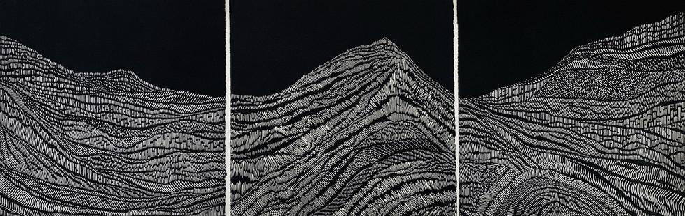 Lava Flows & Cracked Mountain Tops I, II, III