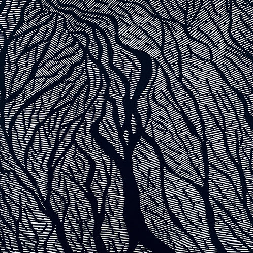 Braided Streams - Linocut Print
