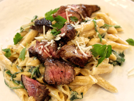 Steak and Creamed Spinach Penne