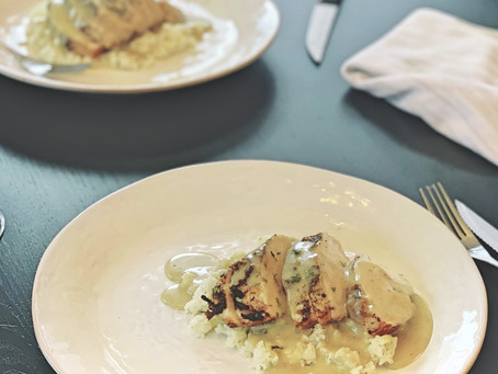 Seared Chicken and Gravy Over Herb Butter Rice