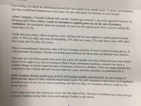 多伦多自由党国会议员Adam Vaughan建议对出售自住房的增值获利部分征税