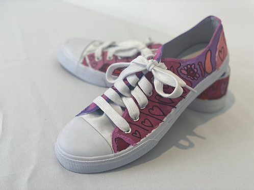 Flowers & Hearts Painted Shoes by Caraline Murphy - Size