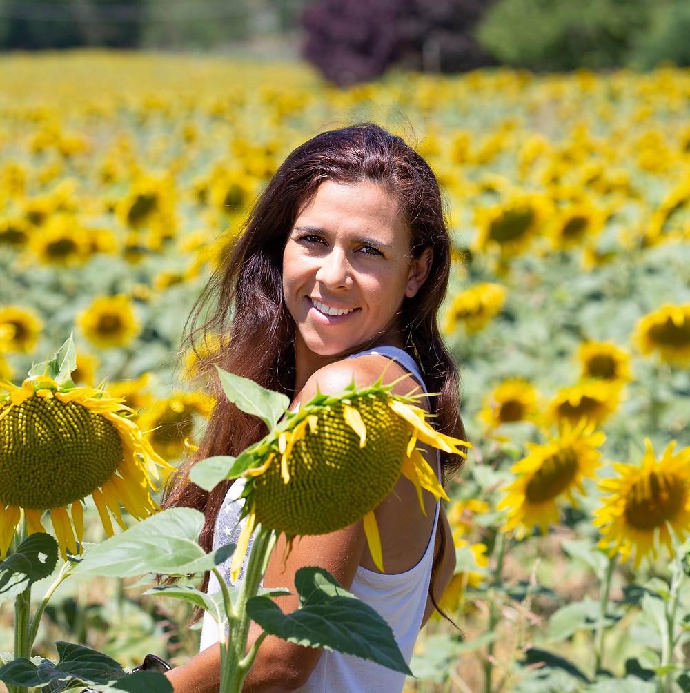 Beautiful sunflowers field in Tuscany