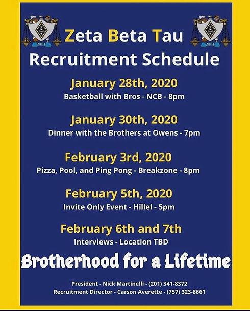 Delta Xi Spring 2020 Recruitment Schedul