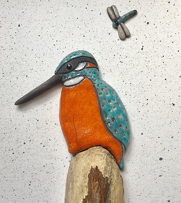 Framed Raku fired Kingfisher and dragonfly -Collection only
