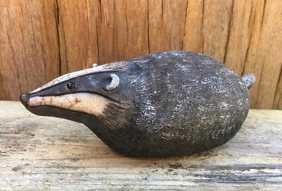 Raku Fired Badger Sculpture- made to order-please allow three weeks