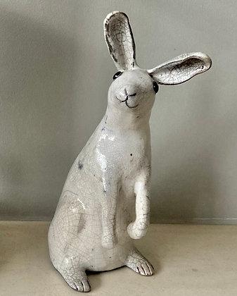 Raku fired ceramic Hare