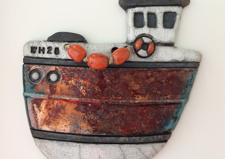 Weymouth trawler,Raku fired weymouth fishing boat,belinda Sales Ceramics, wal art, local gifts Weymouth, dorset artist