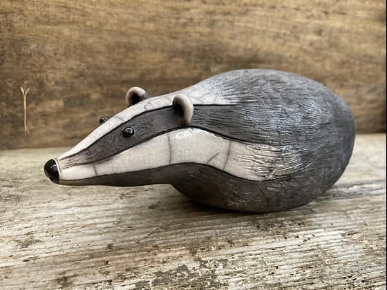 Raku Fired Badger Sculpture- made to order-please allow three weeks