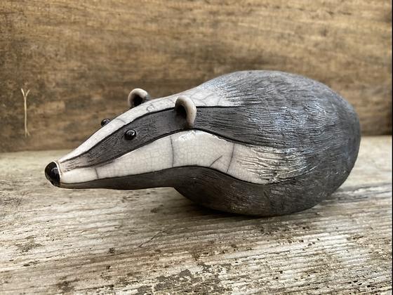 Raku Fired Badger Sculpture - Handmade