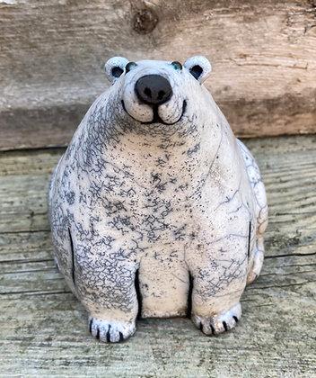 Raku Fired Polar Bear- made to order- allow up to 3 weeks