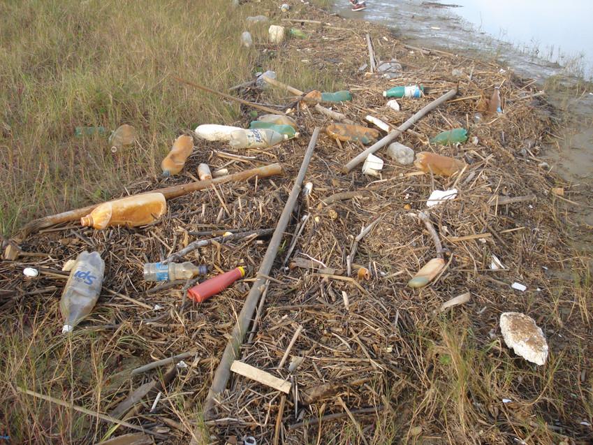 Lixo na foz do Rio Urussanga - Praia do