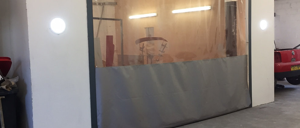 12ft High Spray Booth Curtains (economy wire fixing kit)