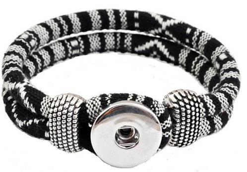 Adjustable Leather Loop Clasp Single Snap Bracelet Fits 18/20mm + 3 FREE SNAPS!