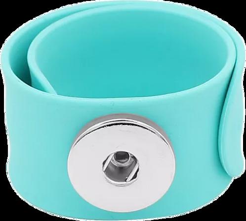 Turquoise Single Snap Silicone Slap Bracelet+ 3 FREE SNAPS
