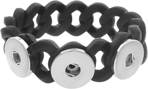 Triple Snap - 20mm Wide - Silicone Braided Stretch Bracelet + 3 FREE SNAPS