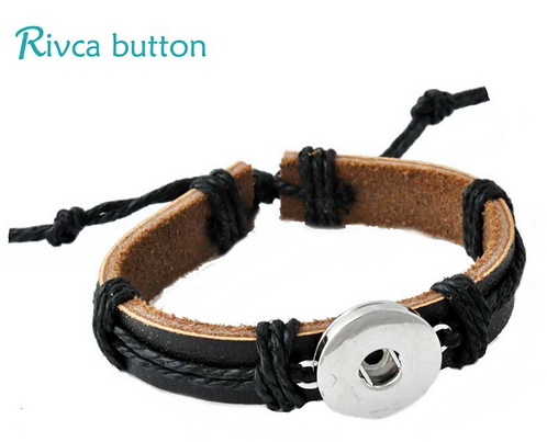 Adjustable Leather Single Snap Bracelet Fits 18/20mm + 3 FREE SN