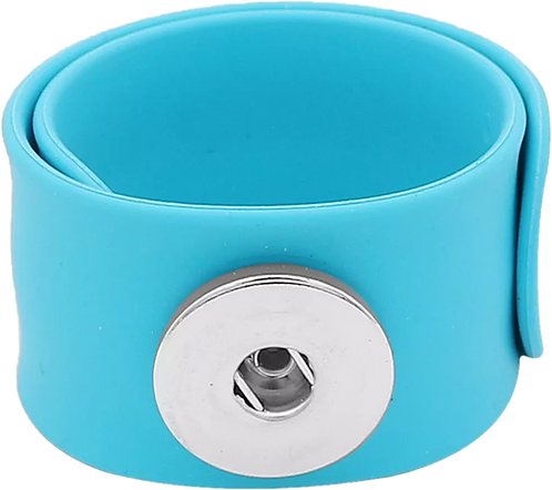 Light Blue Single Snap Silicone Slap Bracelet+ 3 FREE SNAPS