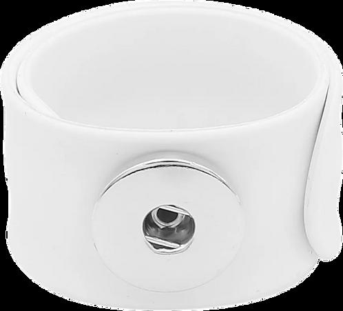 White Single Snap Silicone Slap Bracelet+ 3 FREE SNAPS